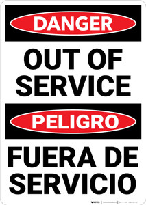 Danger: Out Of Service Bilingual Spanish - Wall Sign