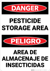 Danger: Pesticide Storage Area Bilingual Spanish - Wall Sign