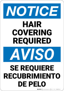 Notice: Ppe Hair Covering Required Bilingual Spanish - Wall Sign