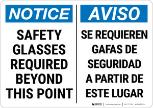 Notice: Ppe Safety Glasses Bilingual Spanish - Wall Sign
