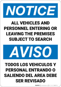Notice: Premises Search Bilingual Spanish - Wall Sign