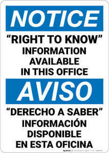 Notice: Rtk Information Available Upon Request Bilingual Spanish - Wall Sign