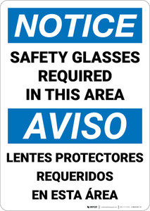 Notice: Safety Glasses Required Area Bilingual Spanish - Wall Sign