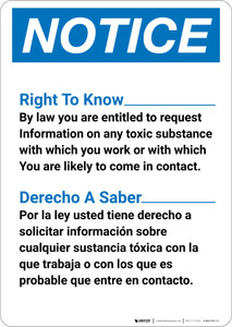 Notice: Sign Right To Know Bilingual Spanish - Wall Sign
