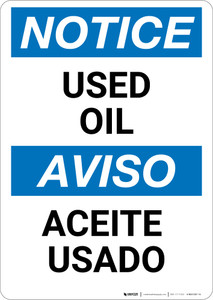 Notice: Used Oil Bilingual Spanish - Wall Sign