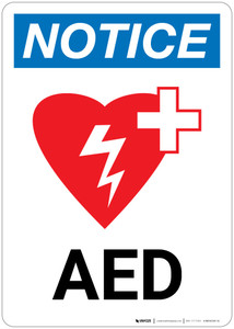 Notice: AED Portrait with Icon - Wall Sign