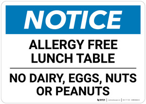Notice: Allergy Free Lunch Table No Dairy Eggs - Wall Sign