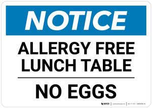 Notice: Allergy Free Lunch Table No Eggs - Wall Sign