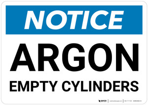 Notice: Argon Empty Cylinders - Wall Sign