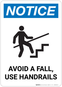 Notice: Avoid A Fall Use Handrails with Icon - Wall Sign