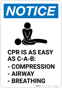 Notice: CPR is as Easy as C-A-B - Wall Sign