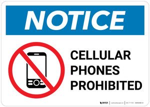 Notice: Cellular Phones Prohibited with Icon - Wall Sign