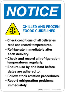 Notice: Chilled And Frozen Foods Guidelines - Wall Sign