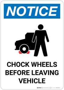 Notice: Chock Wheels Before Leaving Vehicle Portrait with Icon - Wall Sign