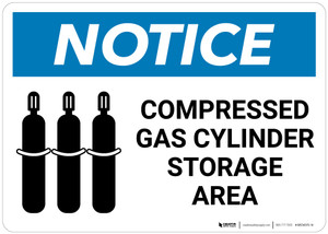Notice: Compressed Gas Cylinder Storage Area with Icon - Wall Sign
