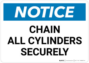 Notice: Chain All Cylinders Securely - Wall Sign