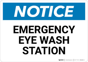 Notice: Emergency Eye Wash Station Landscape - Wall Sign