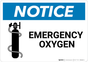 Notice: Emergency Oxygen with Icon - Wall Sign