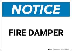 Notice: Fire Damper - Wall Sign