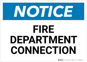 Notice: Fire Department Connection - Wall Sign
