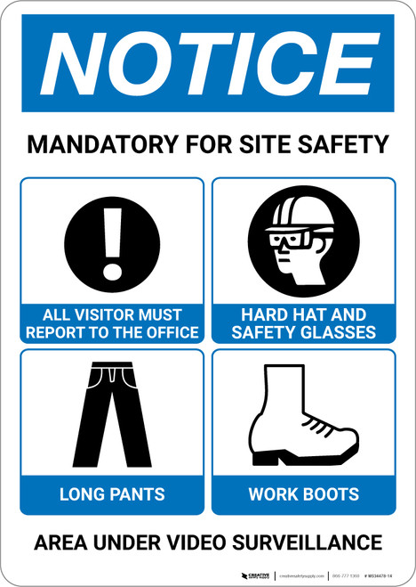 Notice: Mandatory For Site Safety Portrait with Icons - Wall Sign