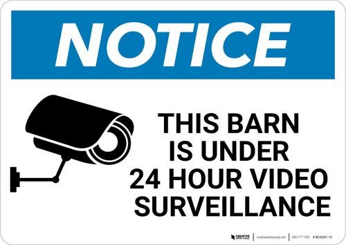 Notice: Video Surveillance with Graphic - Wall Sign