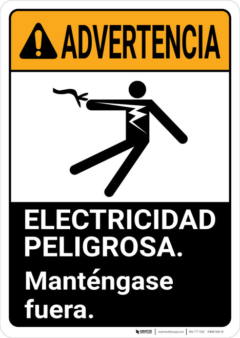 Warning: Electrical Hazard Keep Out Spanish wih Graphic Portrait ANSI - Wall Sign
