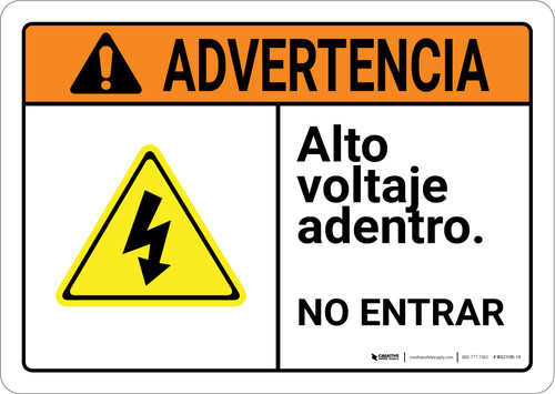 Warning: High Voltage Inside Do Not Enter Spanish with Graphic Landscape ANSI - Wall Sign
