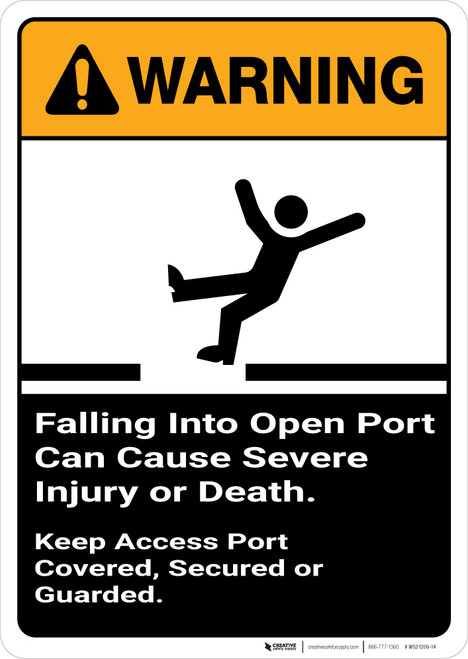 Warning: Falling Into Open Port Can Cause Injury with Graphic Portrait ANSI - Wall Sign
