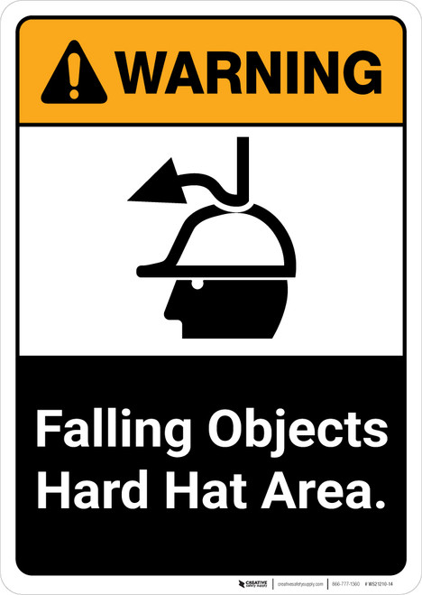 Warning: Falling Objects Hard Hat Area with Graphic Portrait ANSI - Wall Sign
