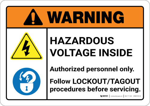 Warning: Hazardous Voltage Inside Follow Lockout Tagout Procedures with Icons Landscape ANSI - Wall Sign