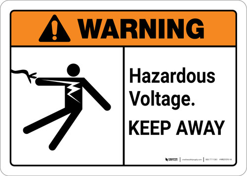 Warning: Hazardous Voltage Keep Away with Graphic Landscape ANSI - Wall Sign