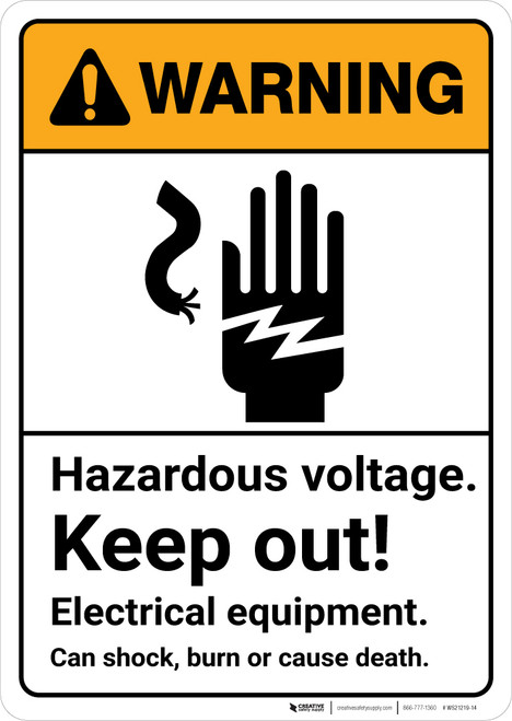 Warning: High Voltage Inside Do Not Enter with Graphic Landscape ANSI - Wall Sign