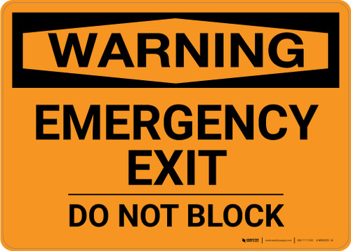 Warning: Emergency Exit Do Not Block Landscape - Wall Sign
