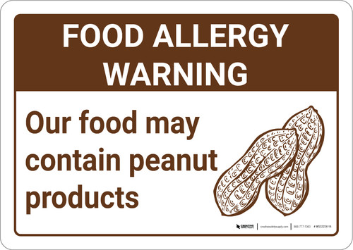 Warning: Food Allergy Warning Food May Contain Peanuts with Icon Landscape - Wall Sign