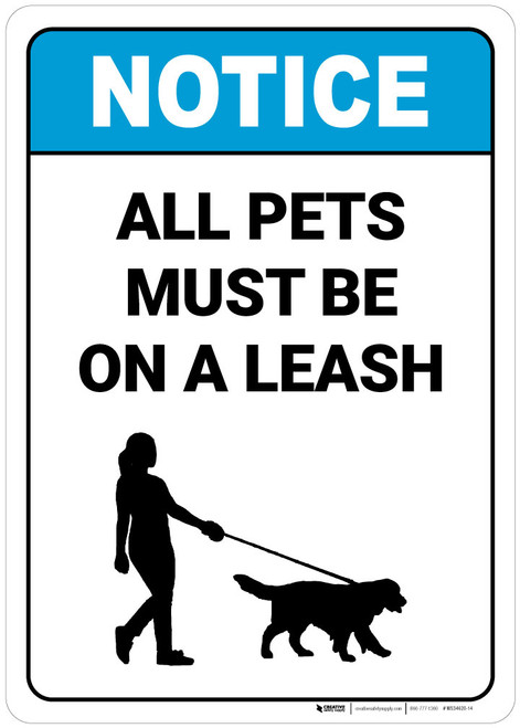 Notice:  All Pets Must Be On Leash Dog Walker Icon Portrait - Wall Sign