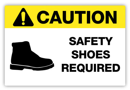Caution - Safety Shoes Required Label