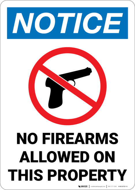 Notice: No Firearms Property with Icon Portrait  - Wall Sign