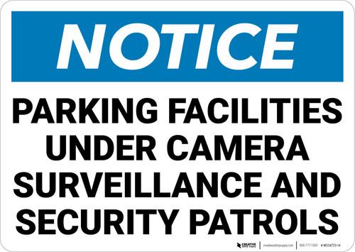 Notice: Parking Facilities Under Camera Surveillance Landscape - Wall Sign