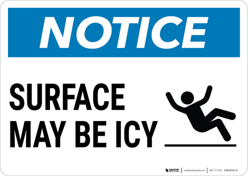 Notice: Surface May Be Icy Person Slipping Icon Landscape - Wall Sign