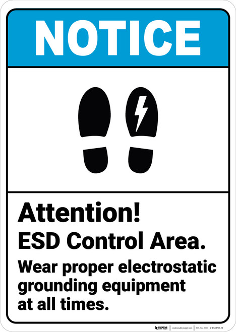 Notice: Attention Esd Control Area Wear Footprint Lightning Icon Portrait ANSI - Wall Sign