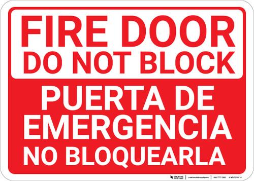Bilingual Spanish Fire Door Do Not Block - Wall Sign
