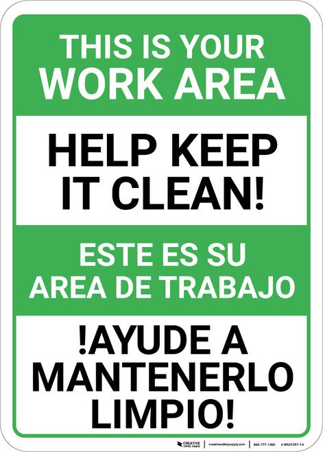 Bilingual Spanish Keep Work Area Clean - Wall Sign
