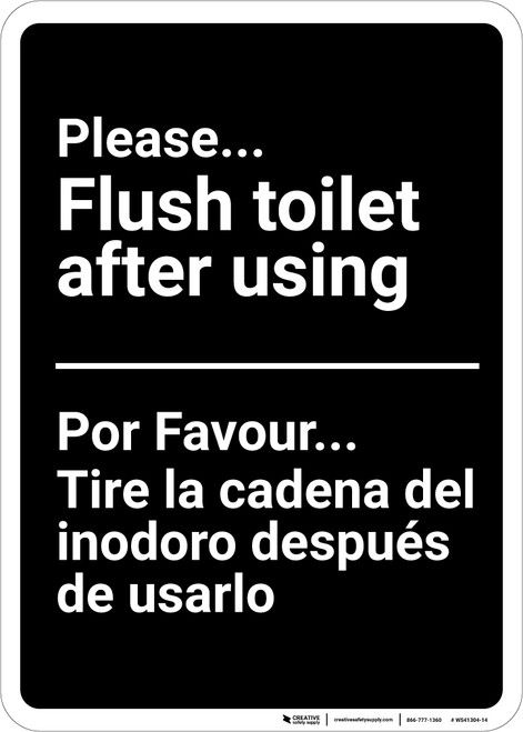 Bilingual Spanish Please Flush Toilet After Using - Wall Sign