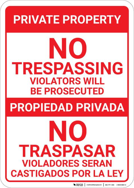 Bilingual Spanish Private Property No Trespassing No Traspasar - Wall Sign