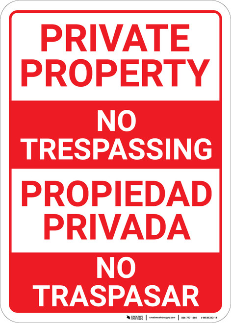 Bilingual Spanish Private Property No Trespassing - Wall Sign