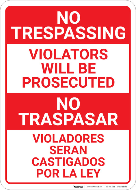 No Trespassing: Bilingual Spanish Violators Red & White - Wall Sign