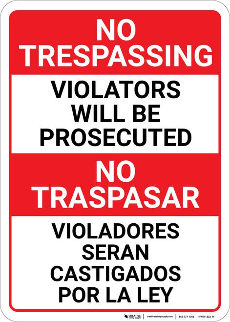 No Trespassing: Bilingual Spanish Violators Red-White & Black - Wall Sign