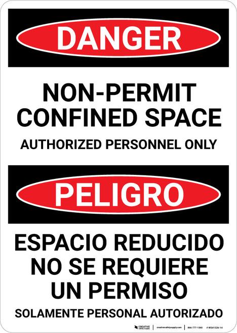 Danger: Bilingual Spanish Non Permit Confined Space Sign Bilingual Spanish - Wall Sign