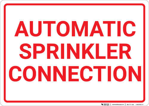 Automatic Sprinkler Connection White Landscape - Wall Sign